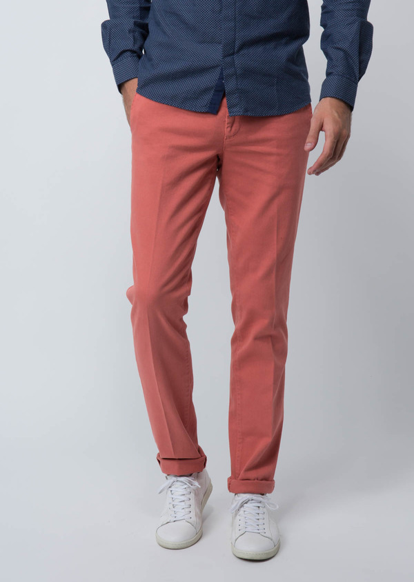 Chino slack skinny en coton stretch uni rose foncé - Father and Sons 28812