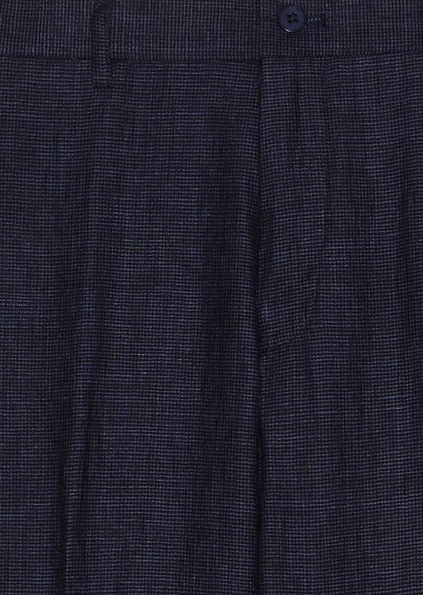 Pantalon coordonnable slim en lin à carreaux bleu marine - Father and Sons 33274