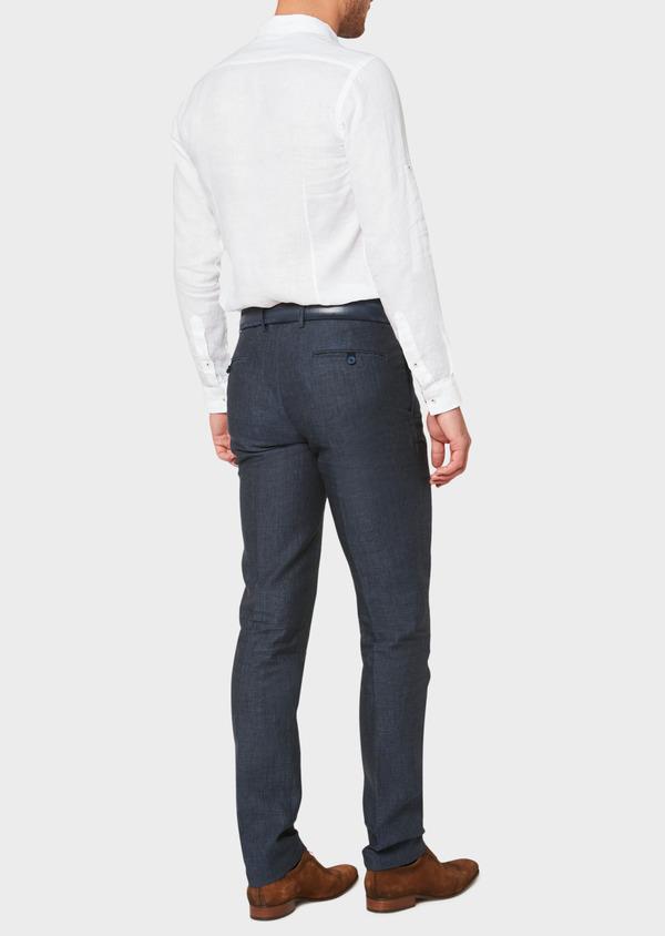 Pantalon coordonnable slim en lin à carreaux bleu marine - Father and Sons 33276