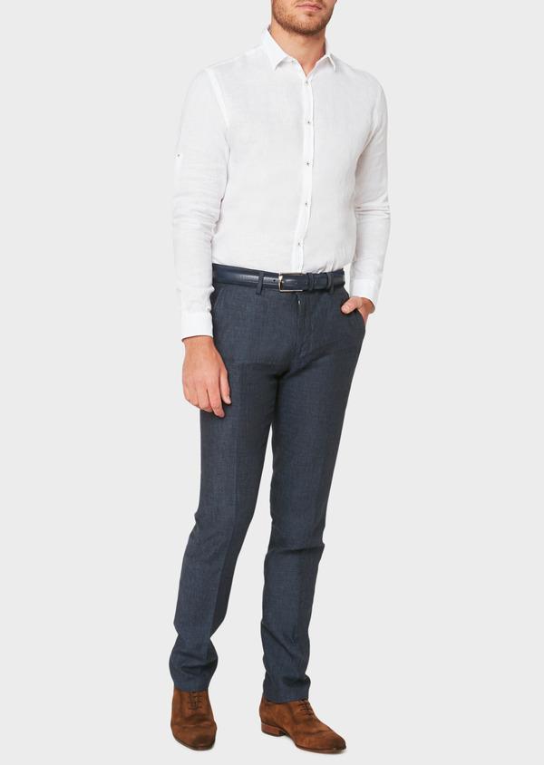Pantalon coordonnable slim en lin à carreaux bleu marine - Father and Sons 33275