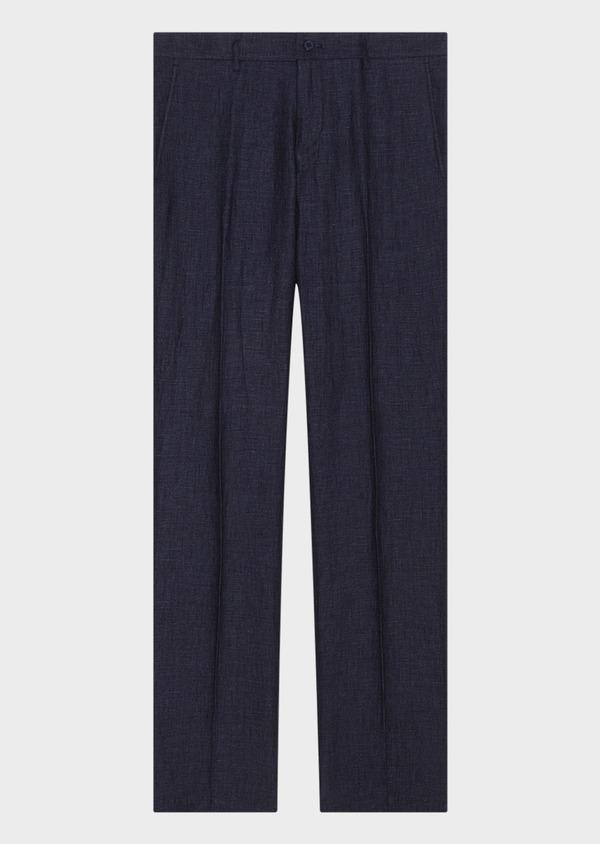 Pantalon coordonnable slim en lin à carreaux bleu marine - Father and Sons 33273