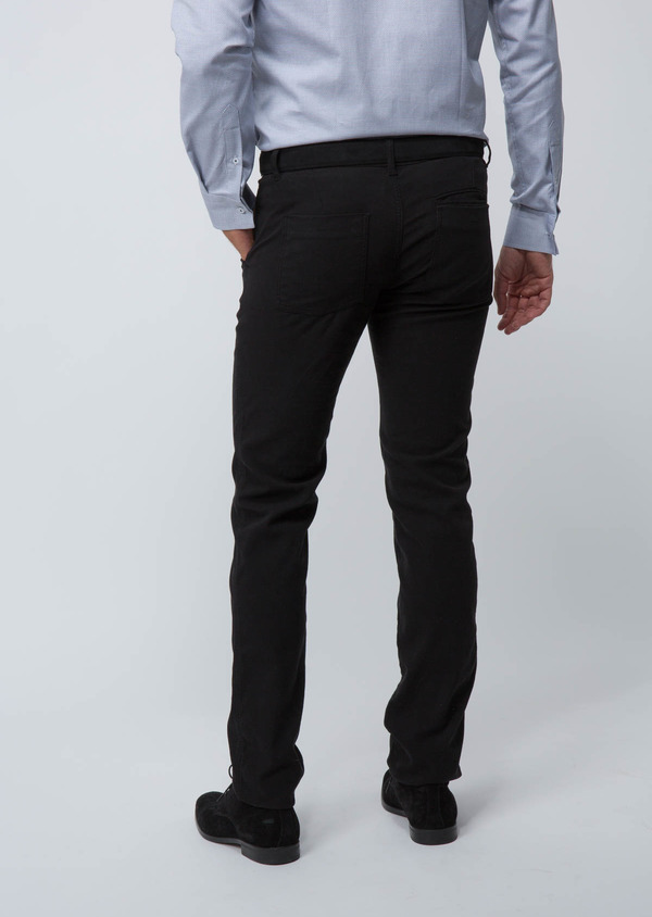 Chino slack skinny en coton stretch uni noir - Father and Sons 30110