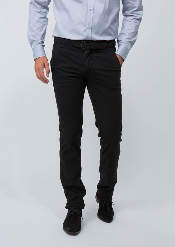 Chino slack skinny en coton stretch uni noir - Father and Sons 30109