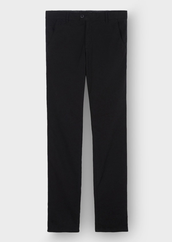Chino slack skinny en coton stretch uni noir - Father and Sons 30108