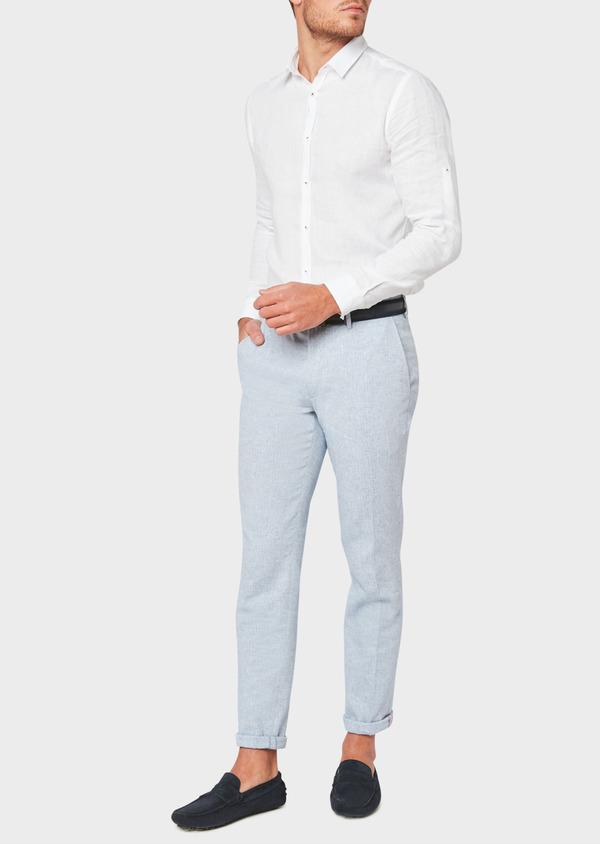 Pantalon coordonnable slim en lin et coton uni bleu ciel - Father and Sons 33293