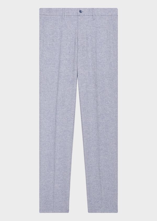 Pantalon coordonnable slim en lin et coton uni bleu ciel - Father and Sons 33291