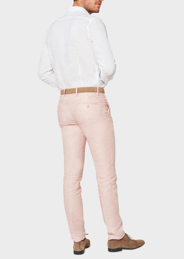 Pantalon coordonnable slim en lin uni rose - Father and Sons 33268