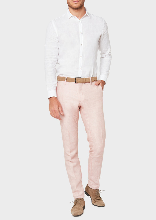 Pantalon coordonnable slim en lin uni rose - Father and Sons 33267