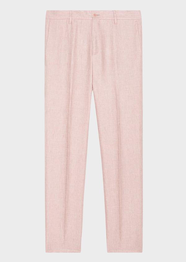 Pantalon coordonnable slim en lin uni rose - Father and Sons 33265