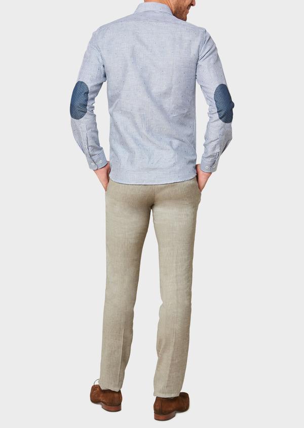 Pantalon coordonnable slim en lin mélangé uni vert kaki - Father and Sons 34191