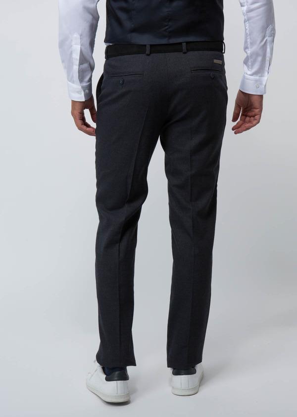 Pantalon Ville Slim en coton mélangé uni bleu marine - Father and Sons 28835