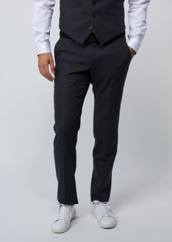 Pantalon Ville Slim en coton mélangé uni bleu marine - Father and Sons 28834