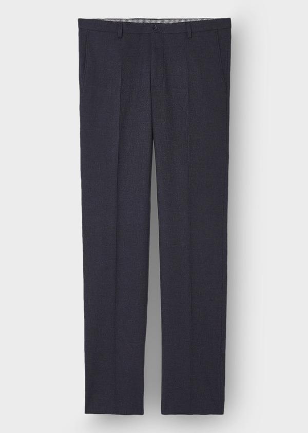 Pantalon Ville Slim en coton mélangé uni bleu marine - Father and Sons 28833