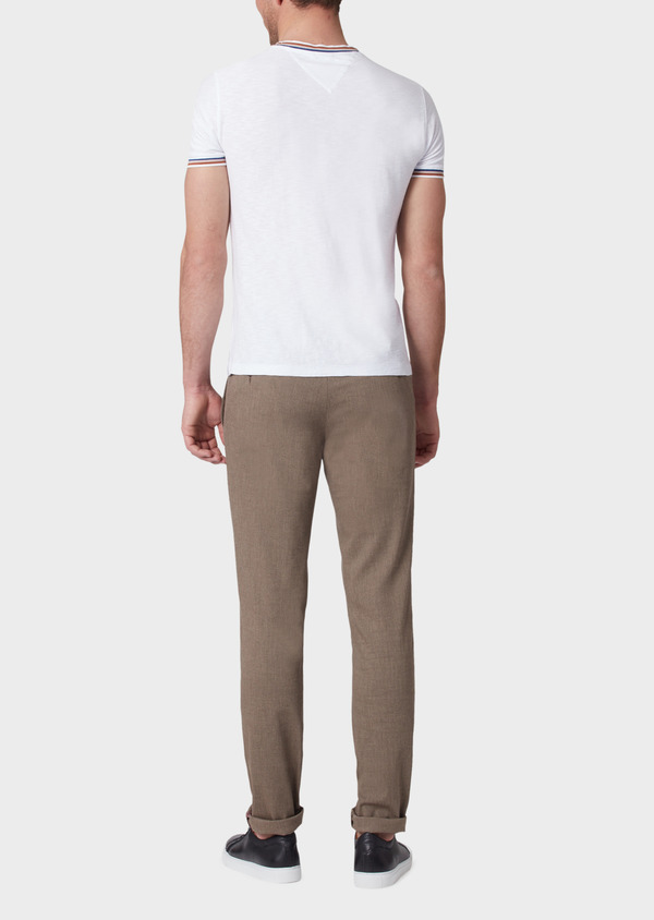 Pantalon coordonnable slim en coton mélangé uni marron - Father and Sons 33893
