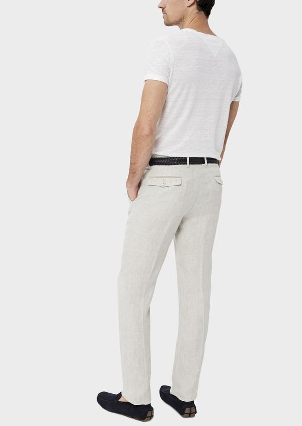Pantalon coordonnable slim en lin uni gris - Father and Sons 34533