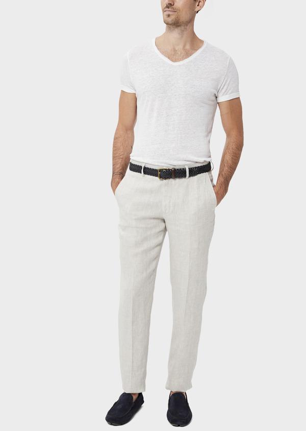 Pantalon coordonnable slim en lin uni gris - Father and Sons 34532