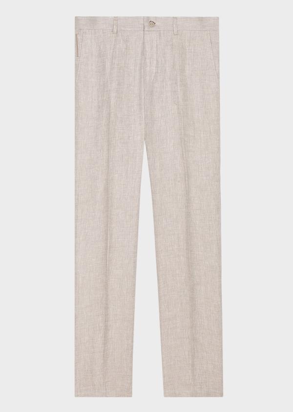 Pantalon coordonnable slim en lin uni gris - Father and Sons 34530