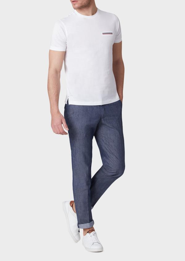 Pantalon coordonnable slim en coton mélangé uni bleu - Father and Sons 33900