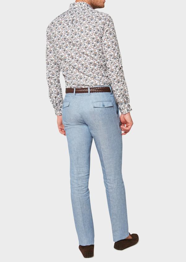 Pantalon coordonnable slim en lin uni bleu - Father and Sons 33316