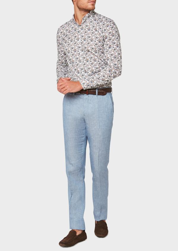 Pantalon coordonnable slim en lin uni bleu - Father and Sons 33315