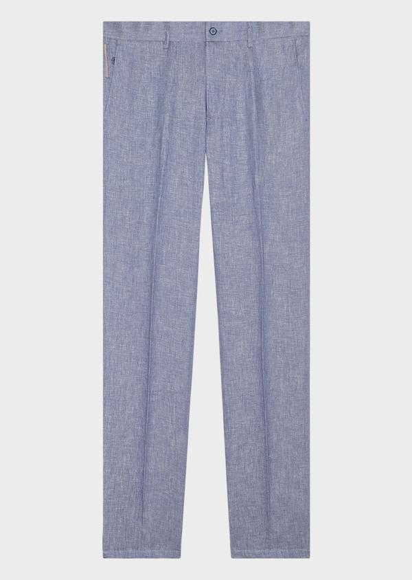 Pantalon coordonnable slim en lin uni bleu - Father and Sons 33313