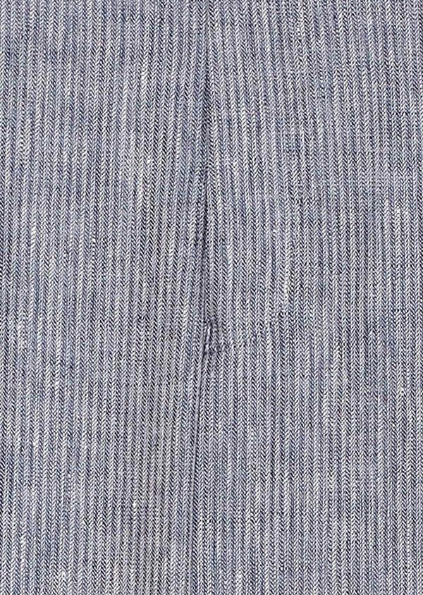 Pantalon coordonnable slim en lin uni bleu - Father and Sons 33318