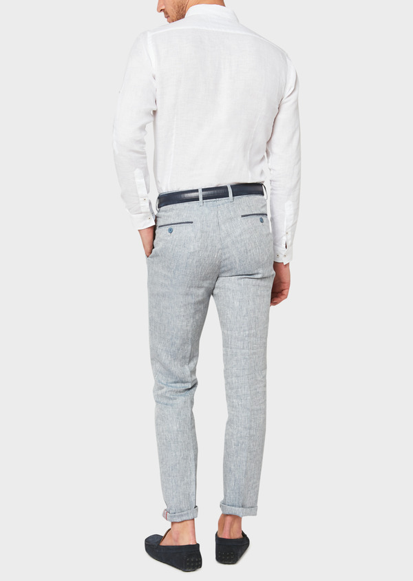 Pantalon coordonnable slim en lin uni bleu - Father and Sons 33320