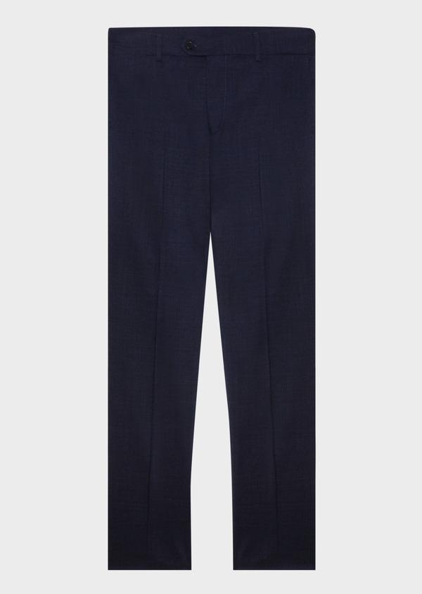 Pantalon voyage coordonnable Regular en laine unie bleu marine - Father and Sons 31830