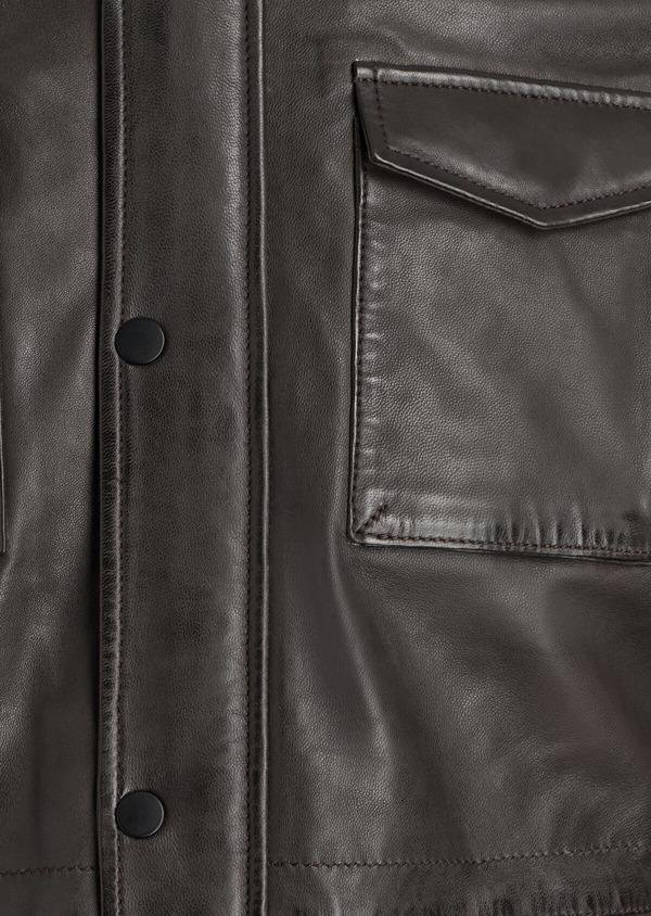 Veste saharienne en cuir uni marron - Father and Sons 35559