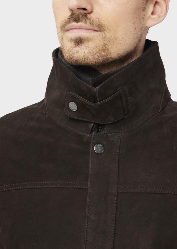 Parka en cuir uni marron avec parementure amovible - Father and Sons 37061