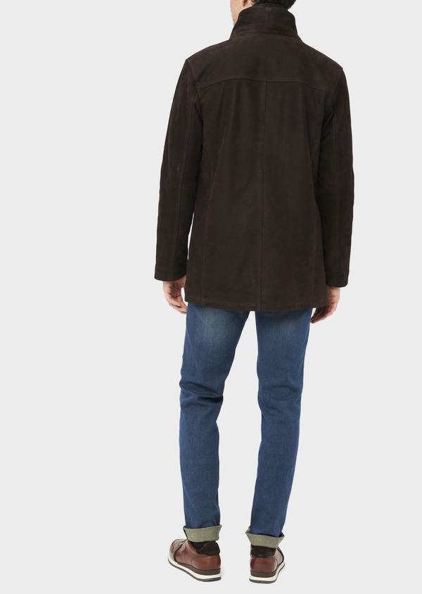 Parka en cuir uni marron avec parementure amovible - Father and Sons 37060