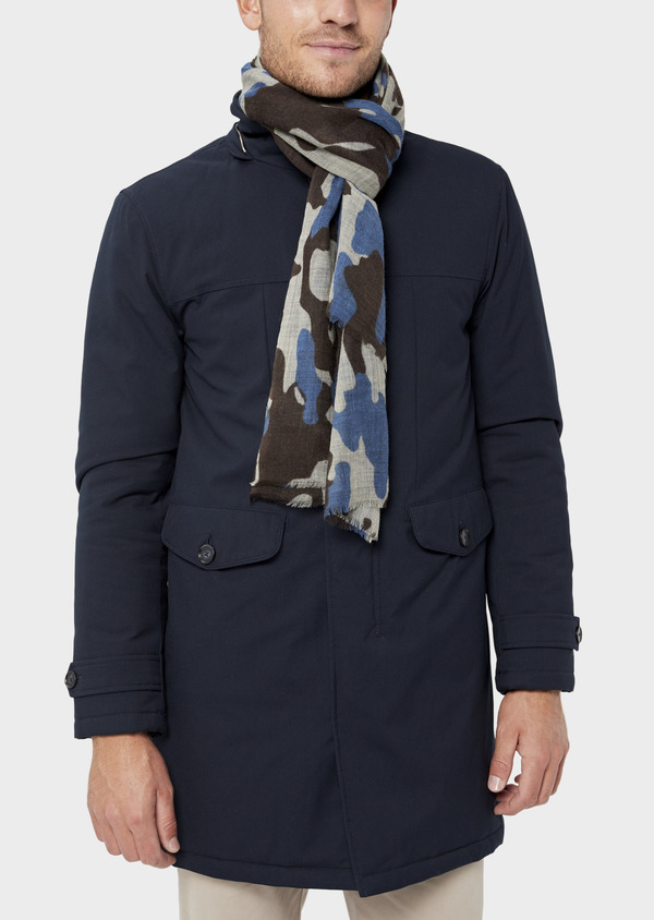 Parka unie bleu marine à capuche amovible - Father and Sons 35915