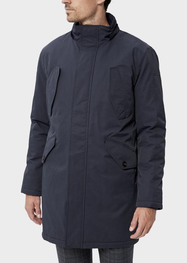 Parka unie bleu marine à capuche amovible en fausse fourrure - Father and Sons 34730