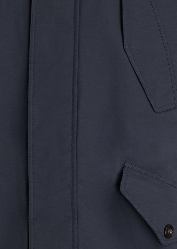 Parka unie bleu marine à capuche amovible en fausse fourrure - Father and Sons 34725