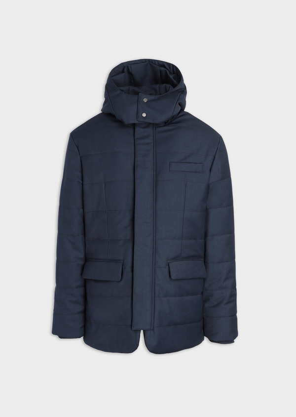 Parka unie bleu gris à capuche - Father and Sons 35922