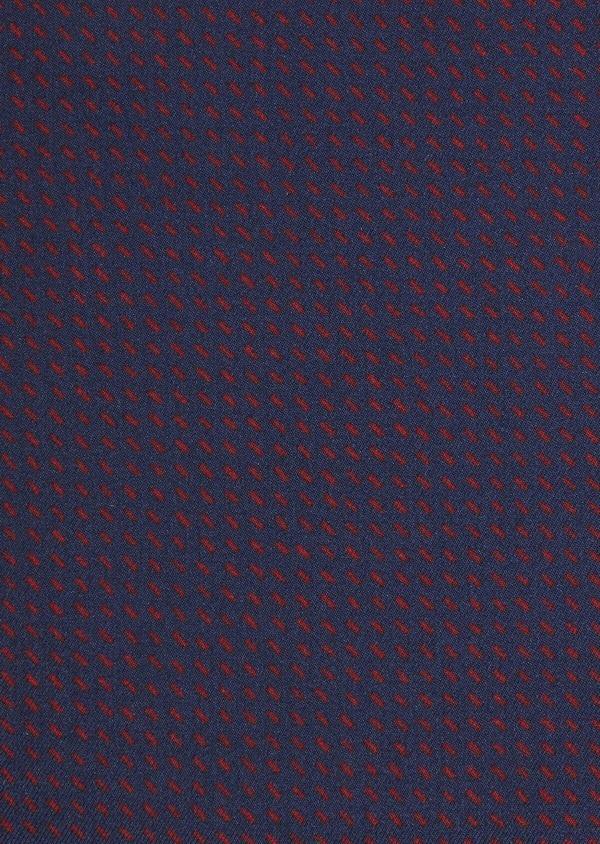 Pochette en soie bleu et bordeaux à motifs géométriques - Father and Sons 36152