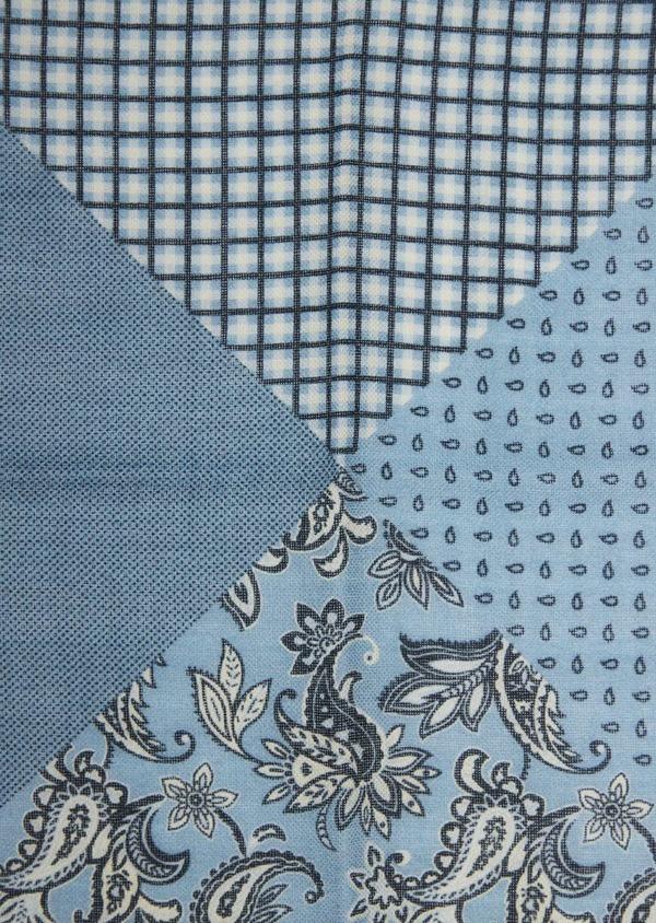Pochette en laine bleu chambray à motif fantaisie - Father and Sons 36150