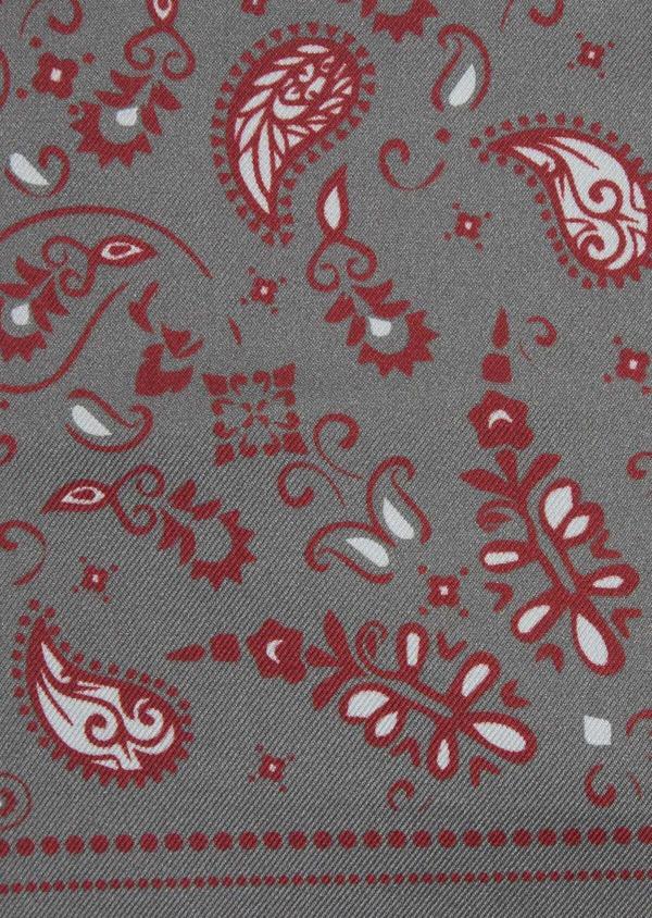 Pochette en soie grise à motif cachemire bordeaux et blanc - Father and Sons 38288
