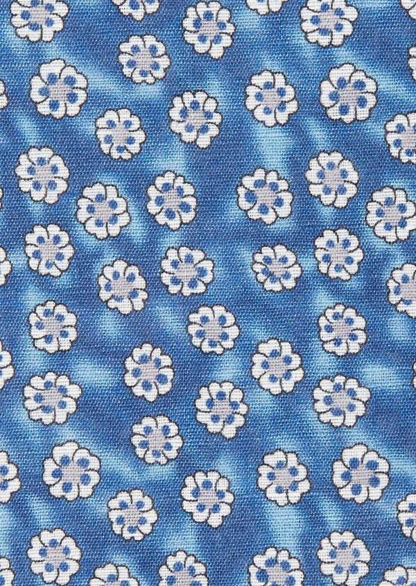 Pochette en lin bleu chambray à motif fleuri blanc - Father and Sons 38294