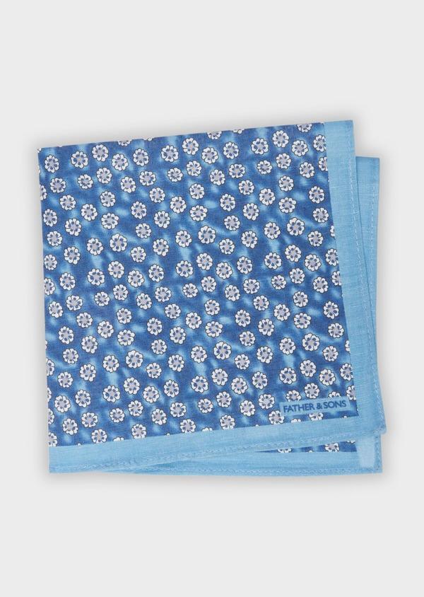 Pochette en lin bleu chambray à motif fleuri blanc - Father and Sons 38293
