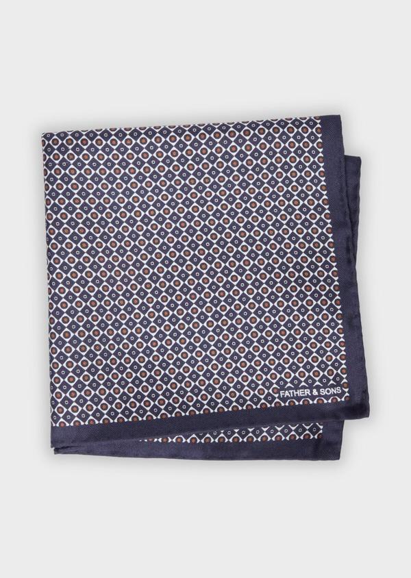 Pochette en soie bleue à motifs géométriques orange et blanc - Father and Sons 38283