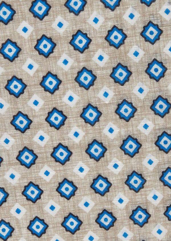 Pochette en lin beige à motif fantaisie bleu et blanc - Father and Sons 38292
