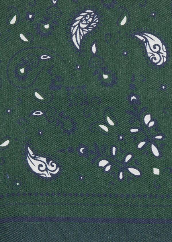 Pochette en soie verte à motif cachemire bleu et blanc - Father and Sons 38286