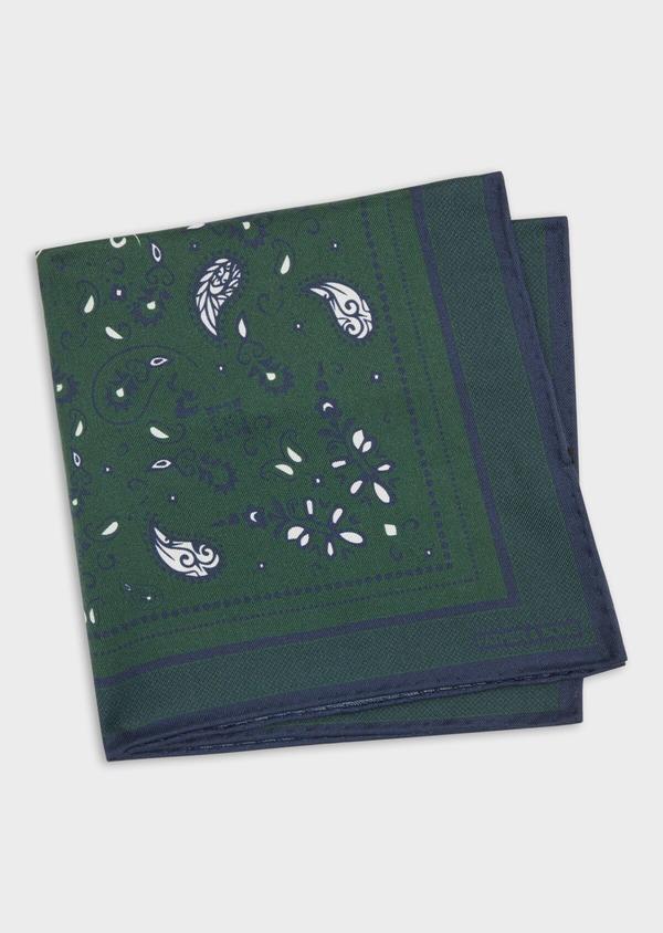 Pochette en soie verte à motif cachemire bleu et blanc - Father and Sons 38285