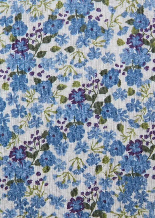 Pochette en coton blanche à motif fleuri bleu et violet - Father and Sons 27394