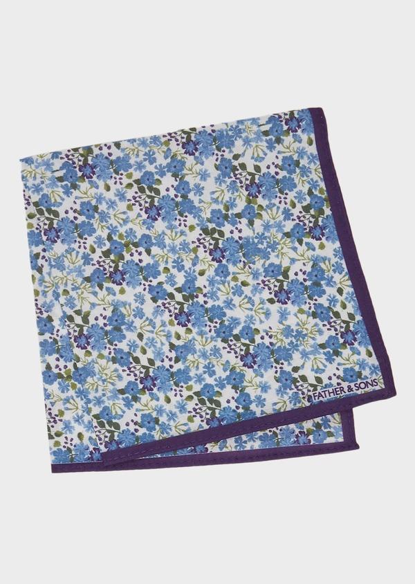 Pochette en coton blanche à motif fleuri bleu et violet - Father and Sons 27393