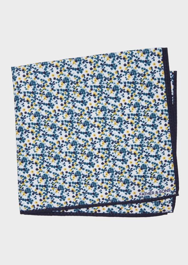 Pochette en coton blanc à motif fleuri bleu et jaune - Father and Sons 38269