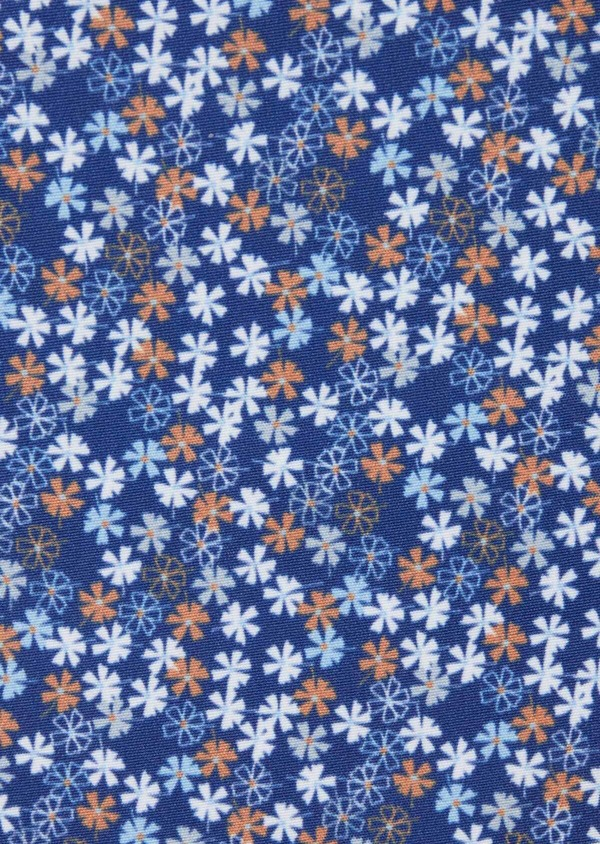 Pochette en coton à motif fleuri bleu et orange - Father and Sons 38268