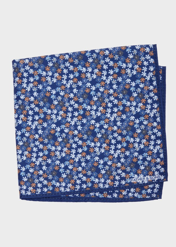 Pochette en coton à motif fleuri bleu et orange - Father and Sons 38267