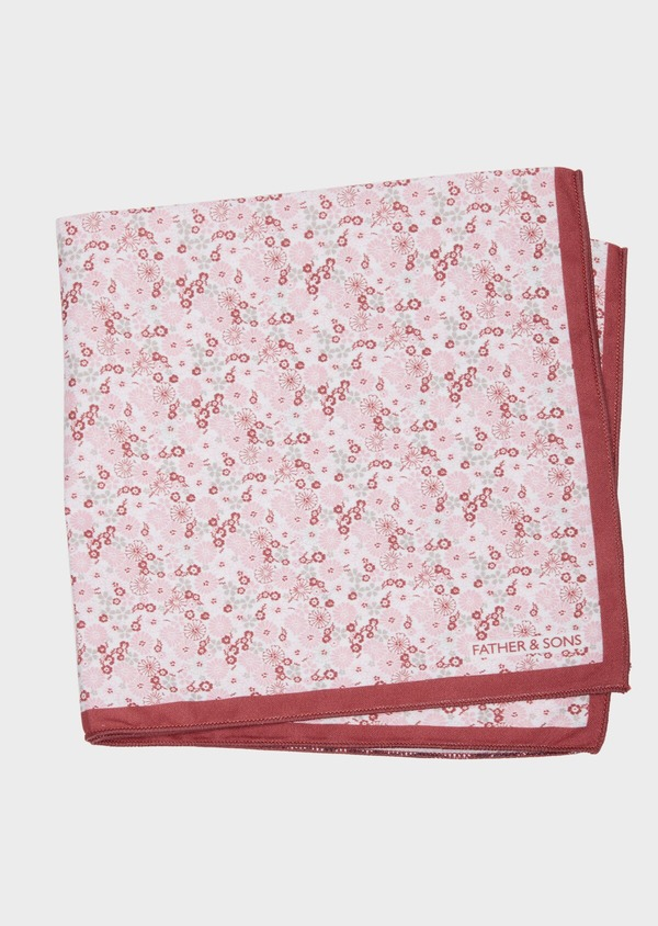 Pochette en coton blanc à motif fleuri rose pâle - Father and Sons 38261